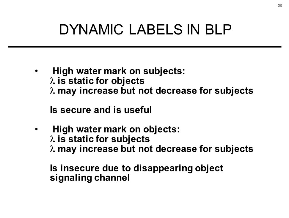 DYNAMIC LABELS IN BLP High water mark on subjects: