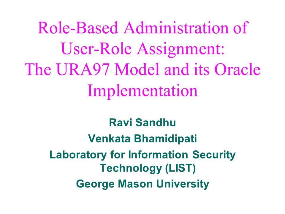 Role-Based Administration of User-Role Assignment: The URA97 Model and its Oracle Implementation