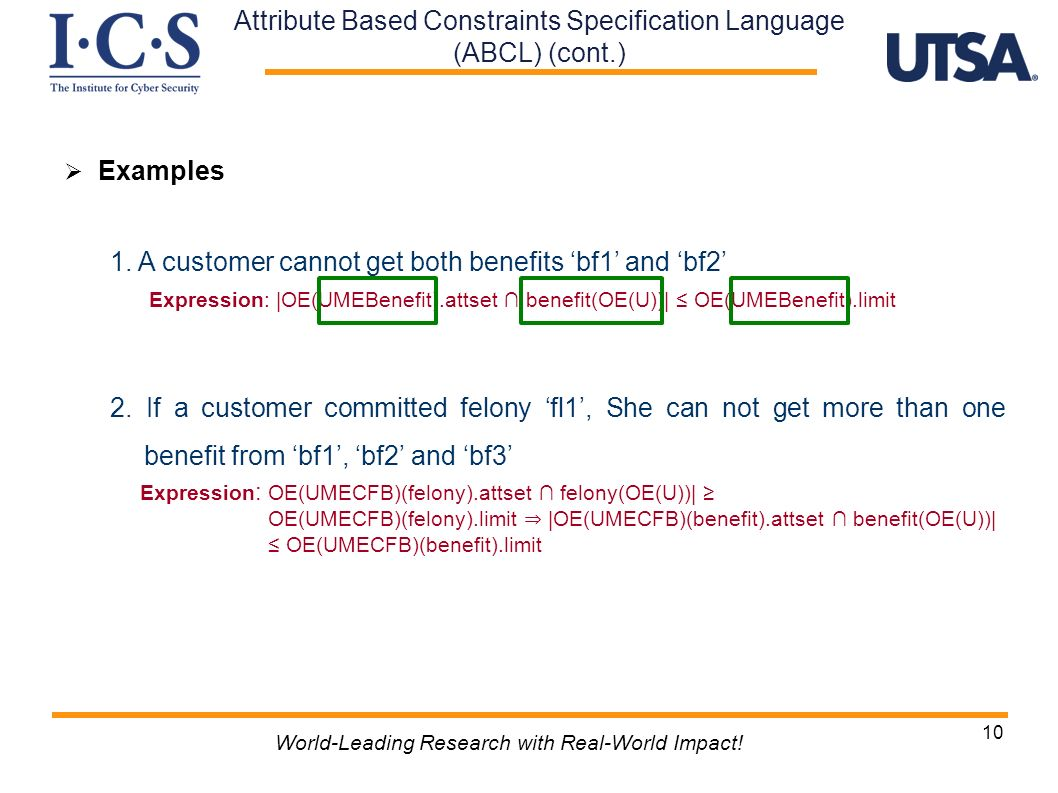Attribute Based Constraints Specification Language (ABCL) (cont.)