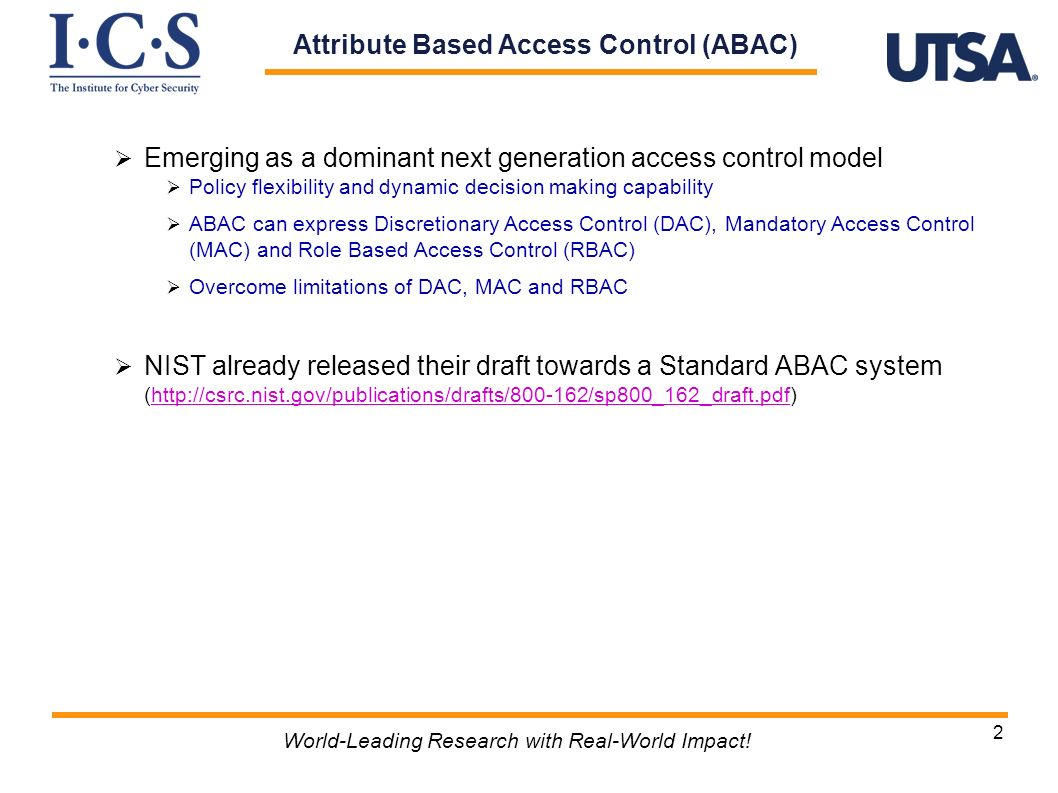 Attribute Based Access Control (ABAC)