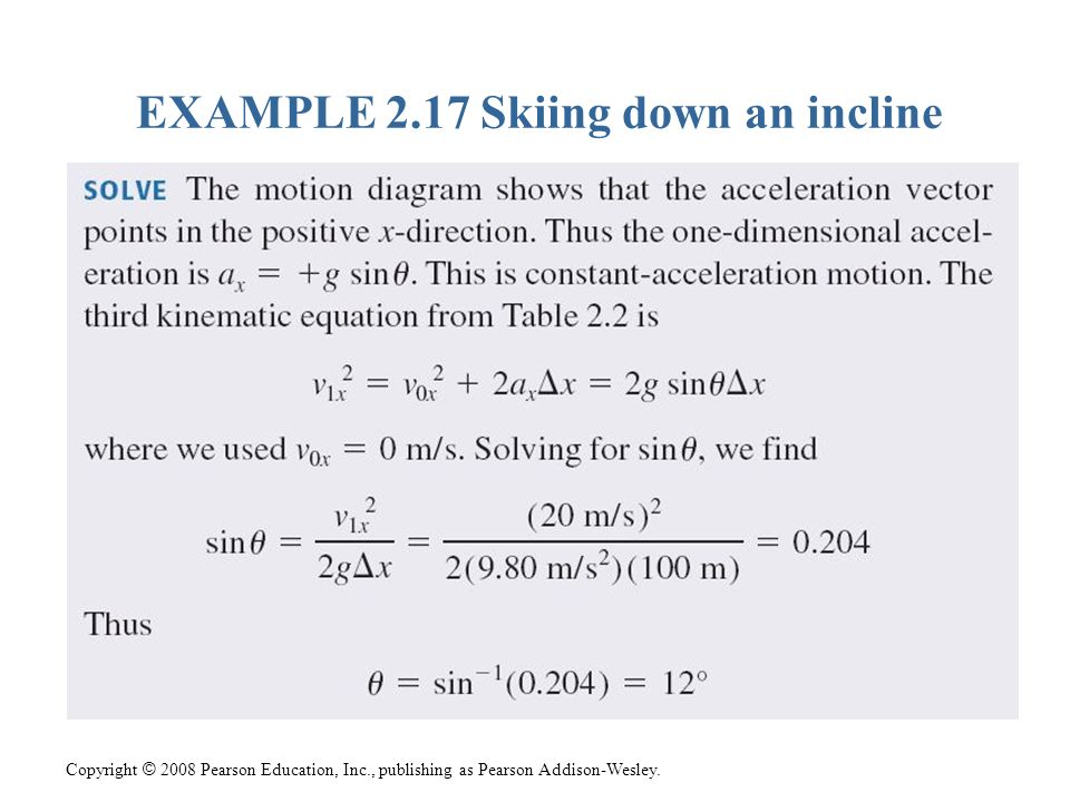 EXAMPLE 2.17 Skiing down an incline