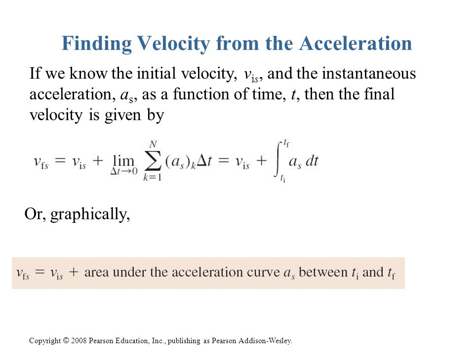 Finding Velocity from the Acceleration