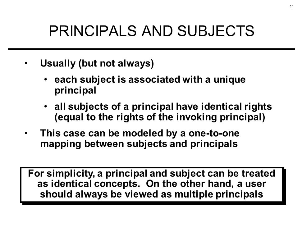 PRINCIPALS AND SUBJECTS