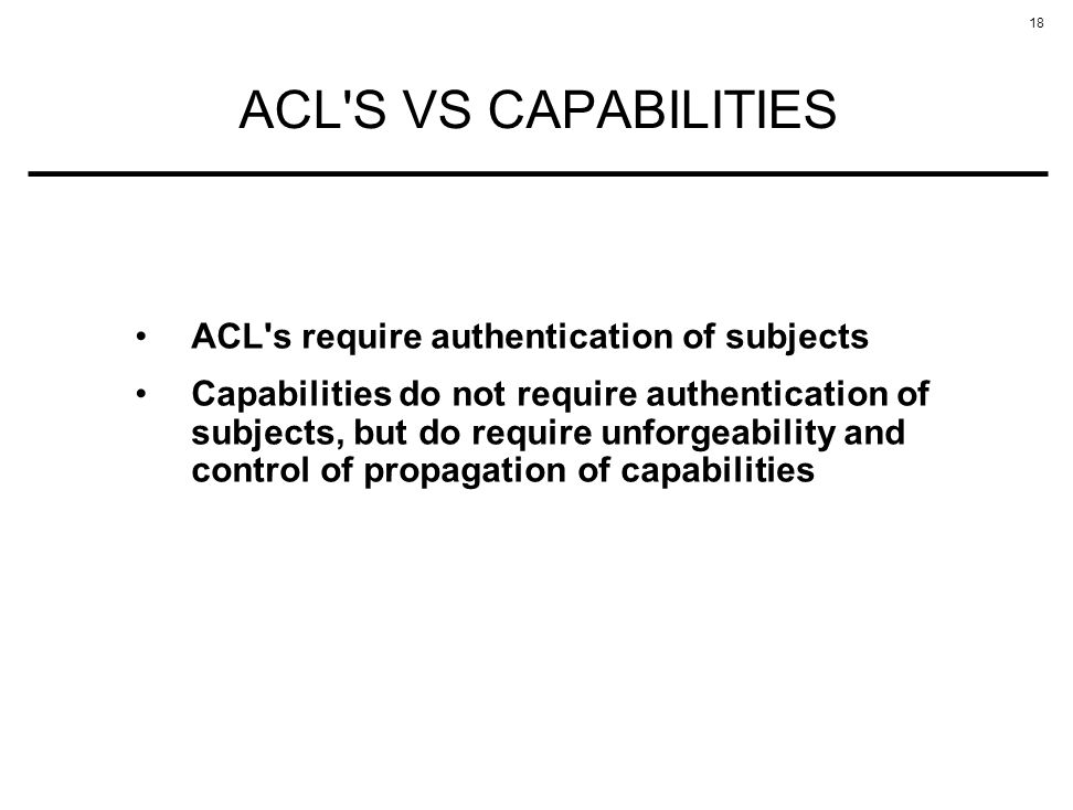 ACL S VS CAPABILITIES ACL s require authentication of subjects