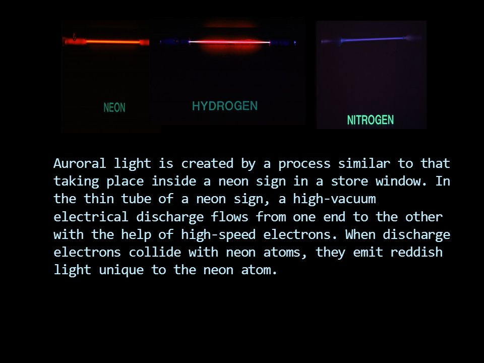 Auroral light is created by a process similar to that taking place inside a neon sign in a store window.