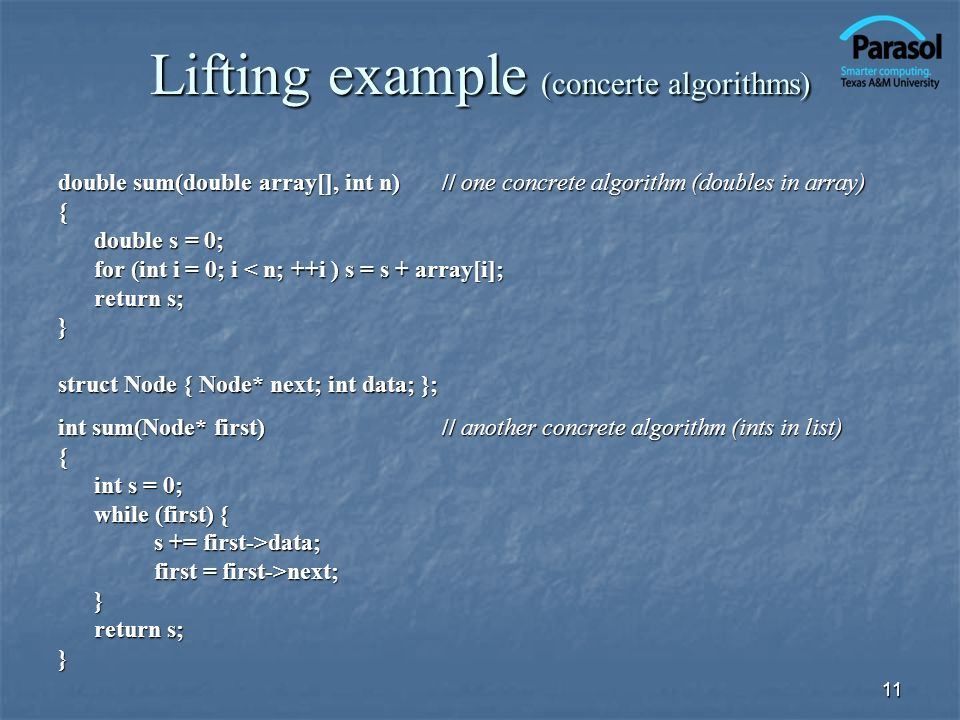Lifting example (concerte algorithms)