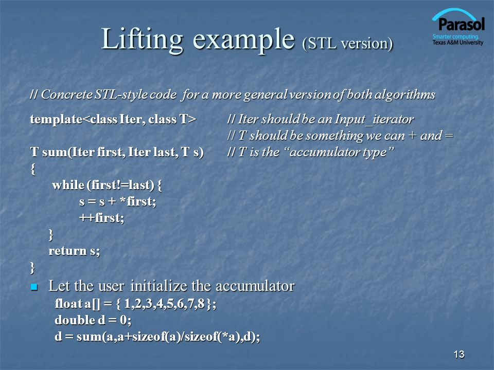 Lifting example (STL version)