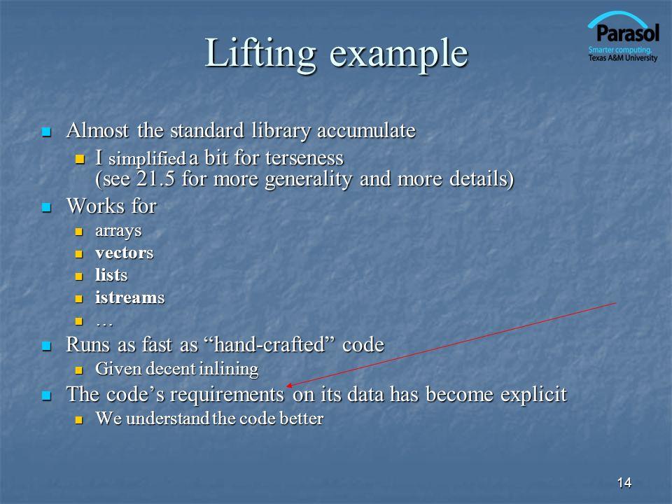 Lifting example Almost the standard library accumulate