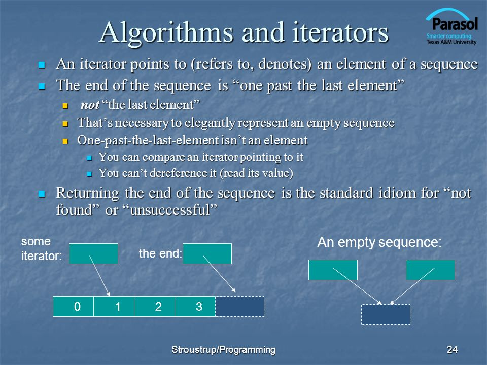 Algorithms and iterators