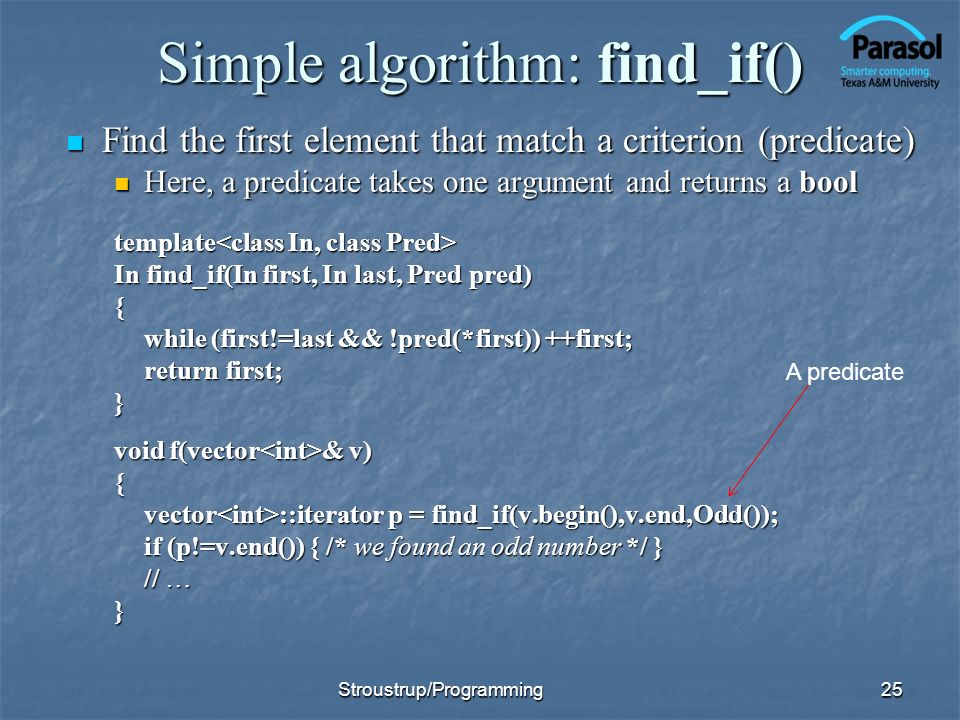 Simple algorithm: find_if()