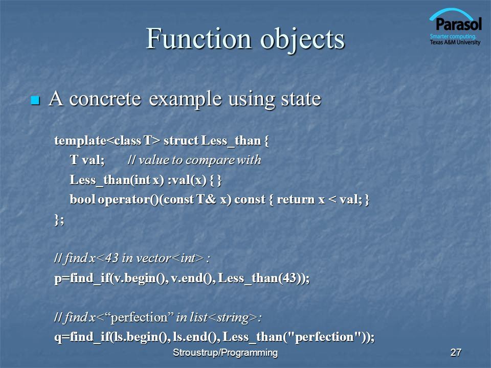 Function objects A concrete example using state