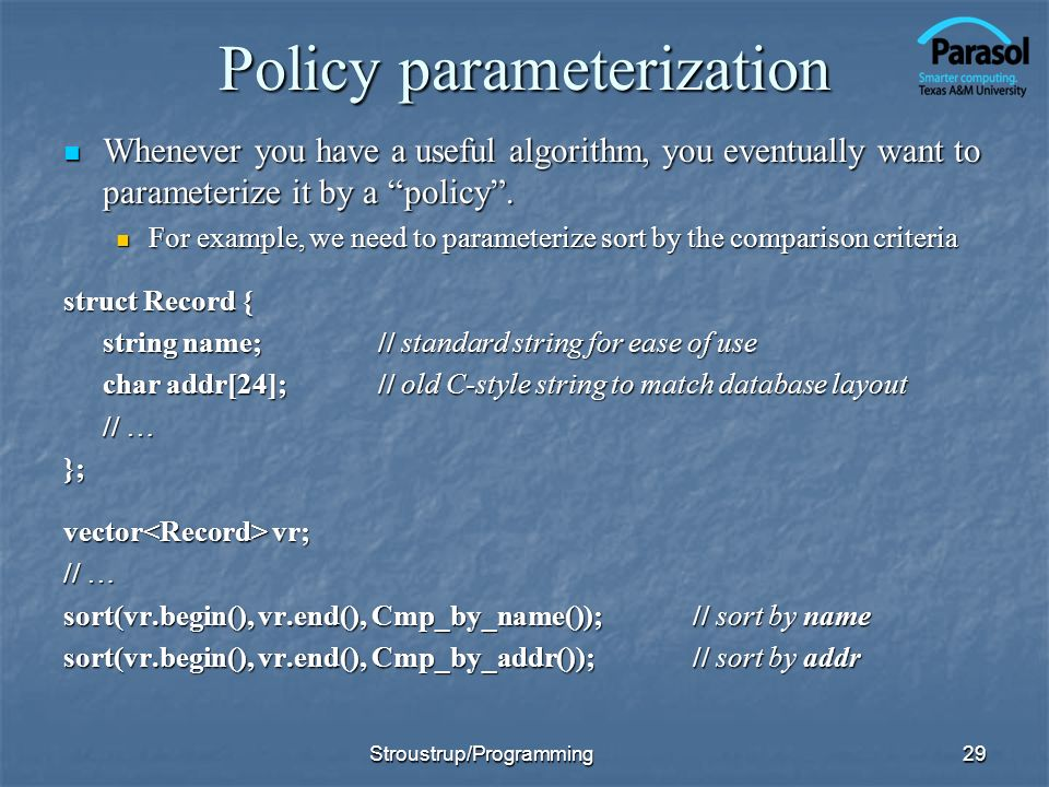Policy parameterization