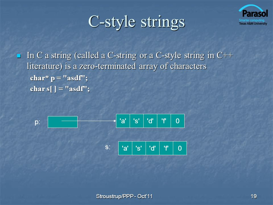 C-style strings In C a string (called a C-string or a C-style string in C++ literature) is a zero-terminated array of characters.
