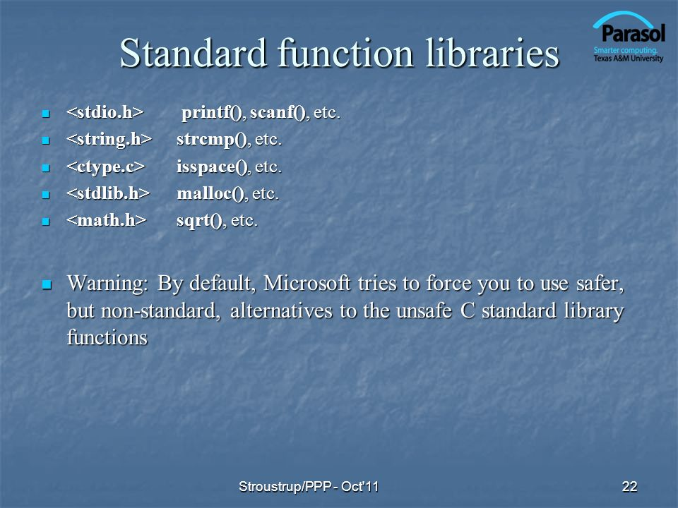 Standard function libraries