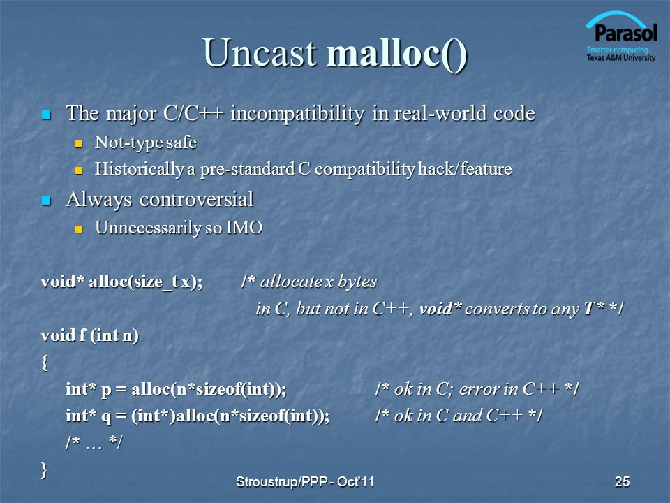 Uncast malloc() The major C/C++ incompatibility in real-world code