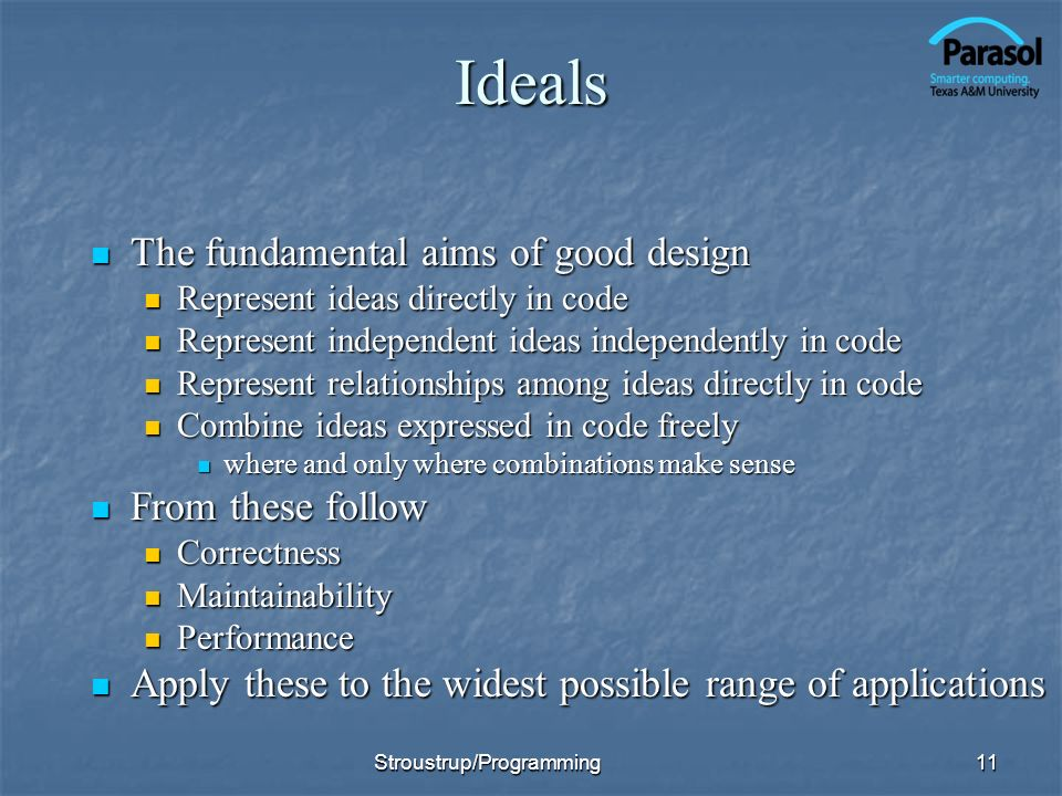 Ideals The fundamental aims of good design From these follow
