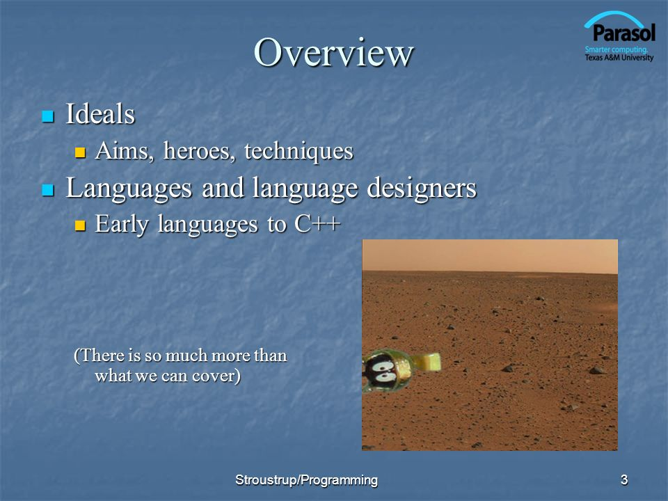Overview Ideals Languages and language designers