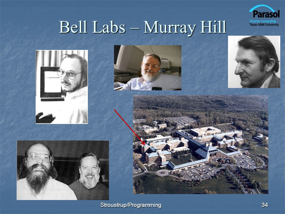 Bell Labs – Murray Hill Stroustrup/Programming