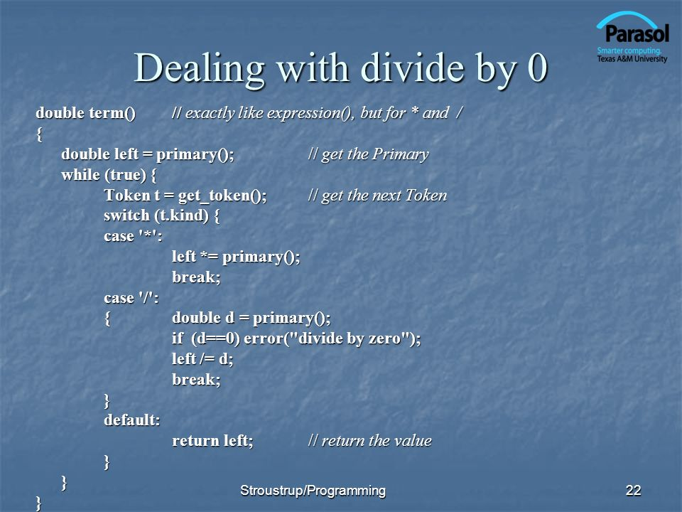Dealing with divide by 0
