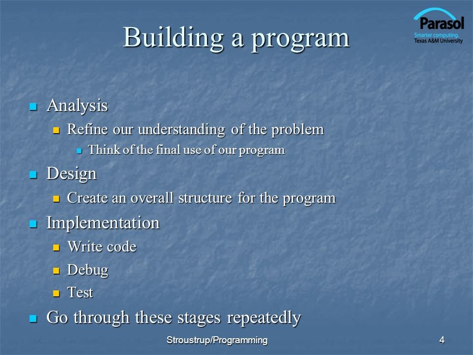 Building a program Analysis Design Implementation