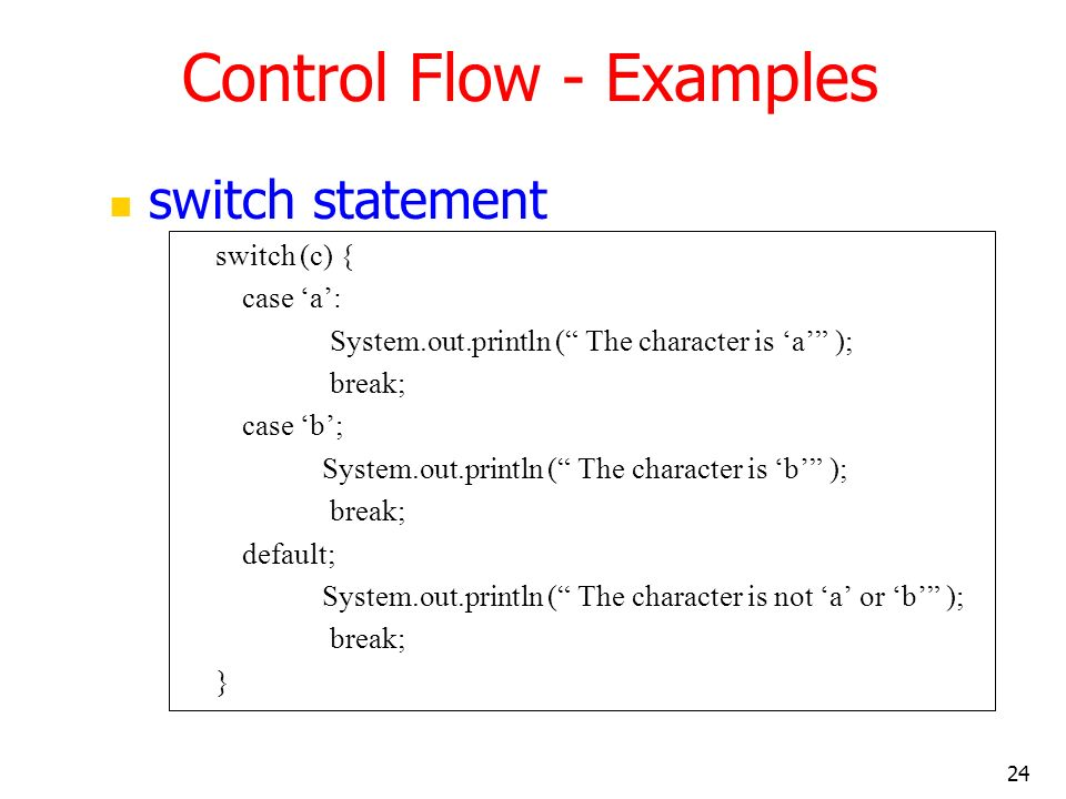 Control Flow - Examples