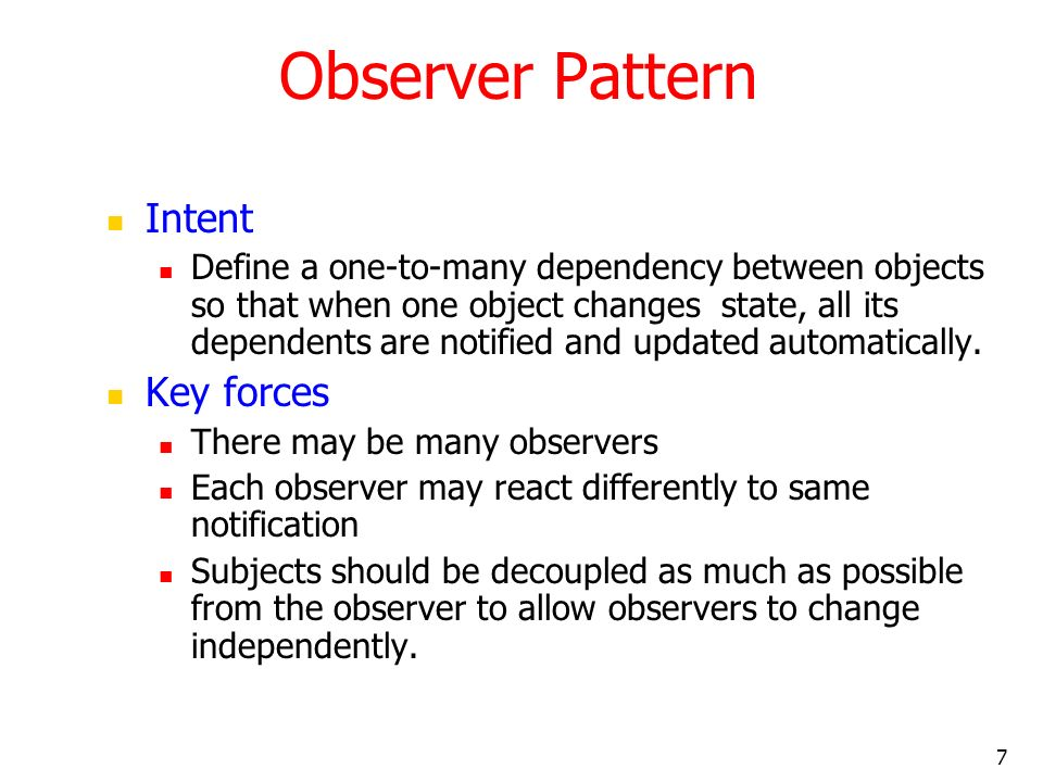Observer Pattern Intent Key forces