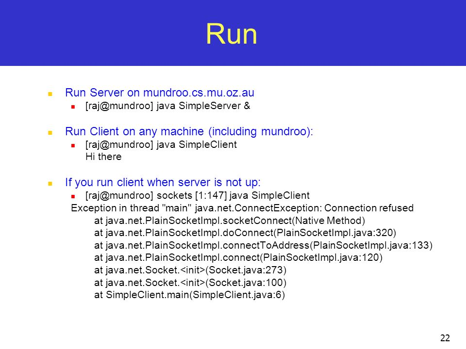 Run Run Server on mundroo.cs.mu.oz.au