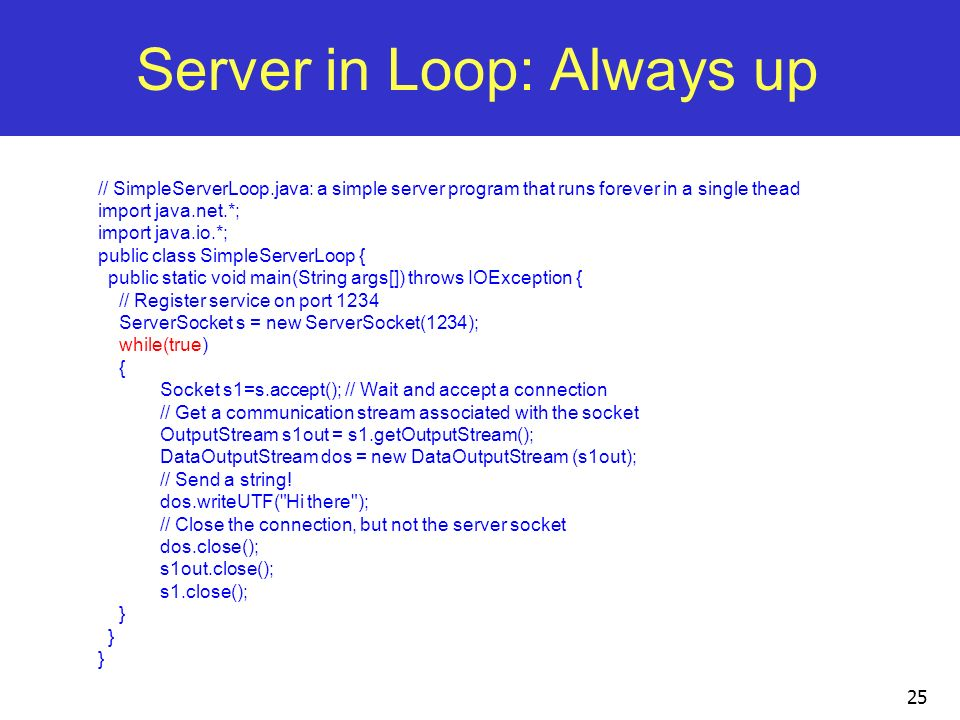 Server in Loop: Always up