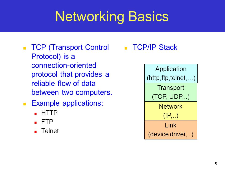 Networking Basics TCP (Transport Control Protocol) is a connection-oriented protocol that provides a reliable flow of data between two computers.