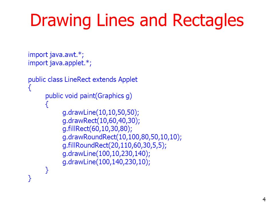 Drawing Lines and Rectagles