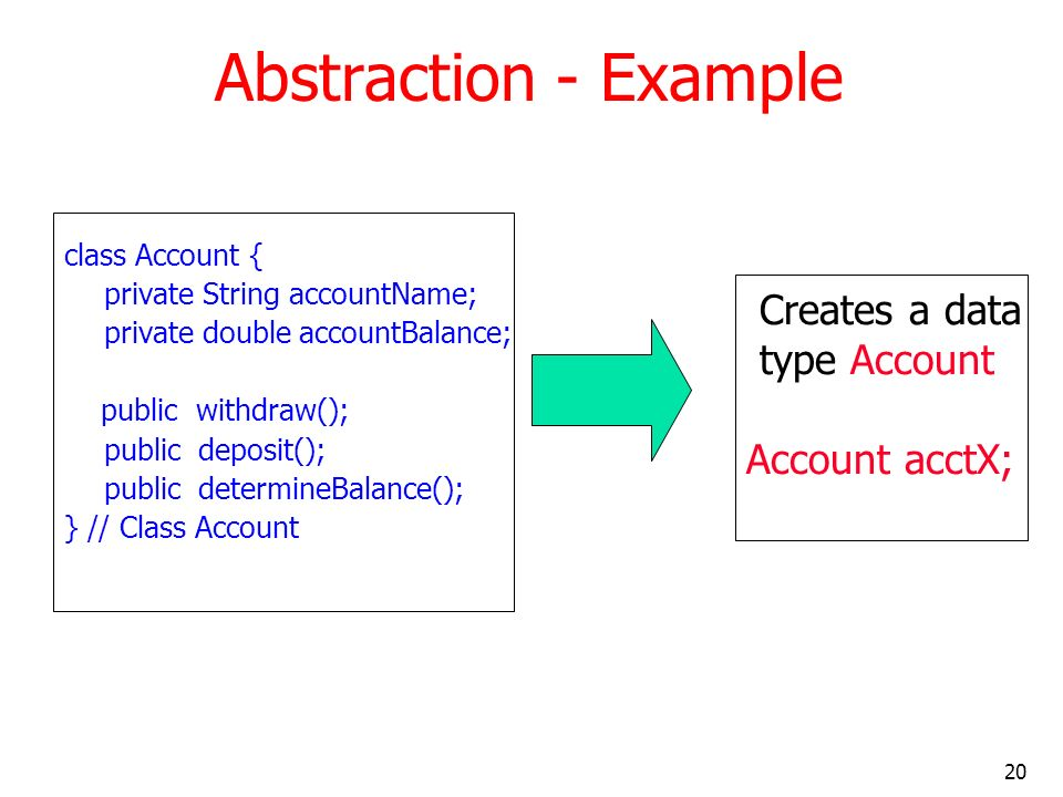 Abstraction - Example Creates a data type Account Account acctX;