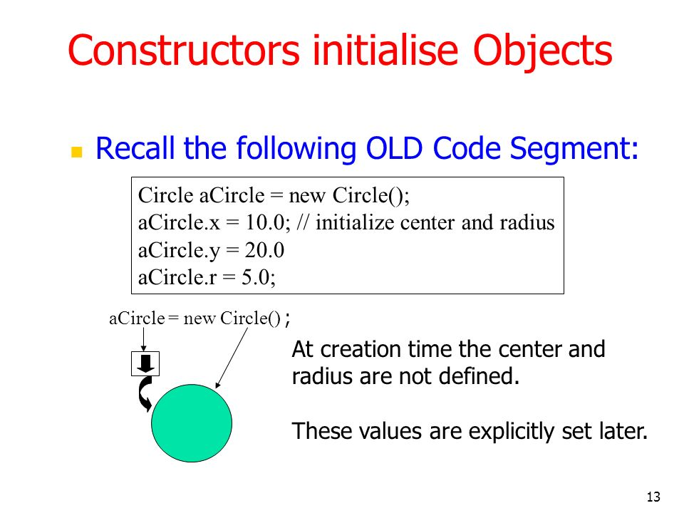 Constructors initialise Objects