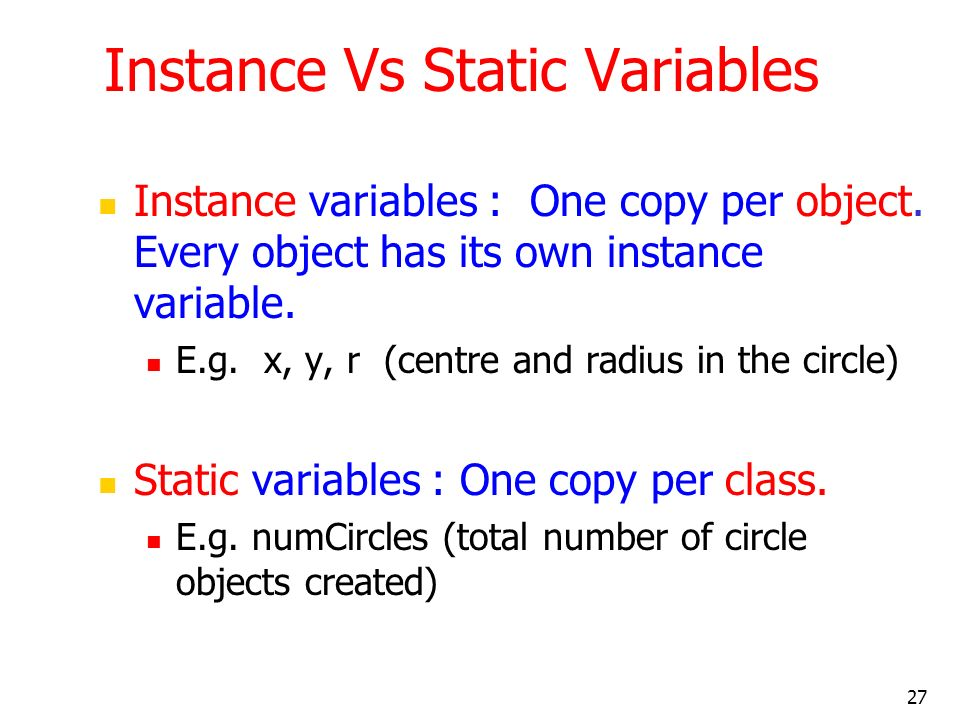Instance Vs Static Variables