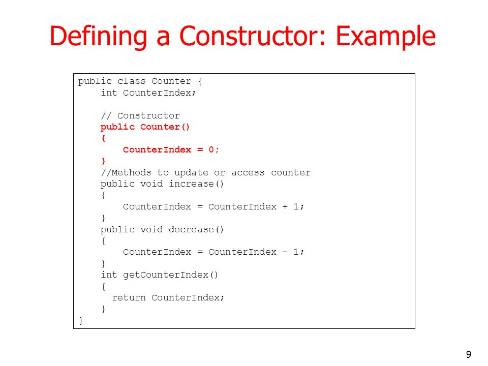 Defining a Constructor: Example