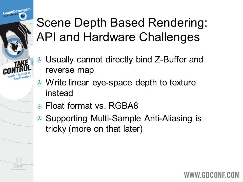Scene Depth Based Rendering: API and Hardware Challenges
