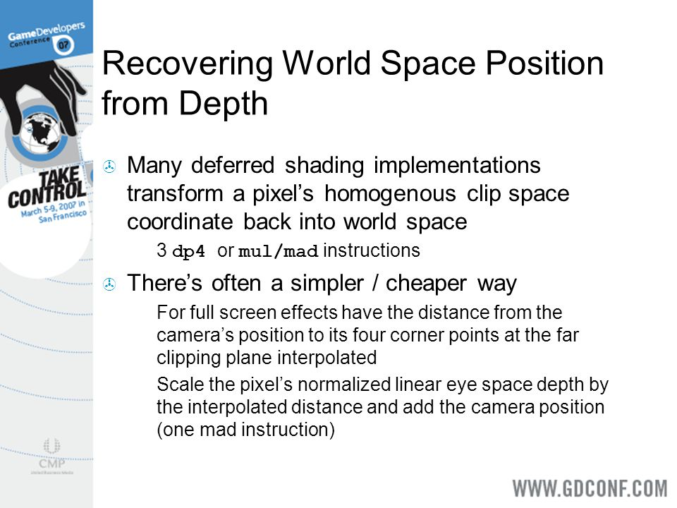 Recovering World Space Position from Depth