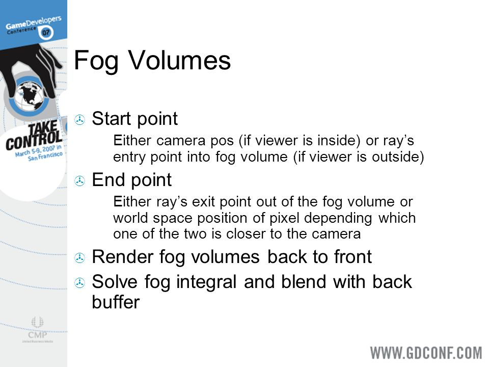 Fog Volumes Start point End point Render fog volumes back to front