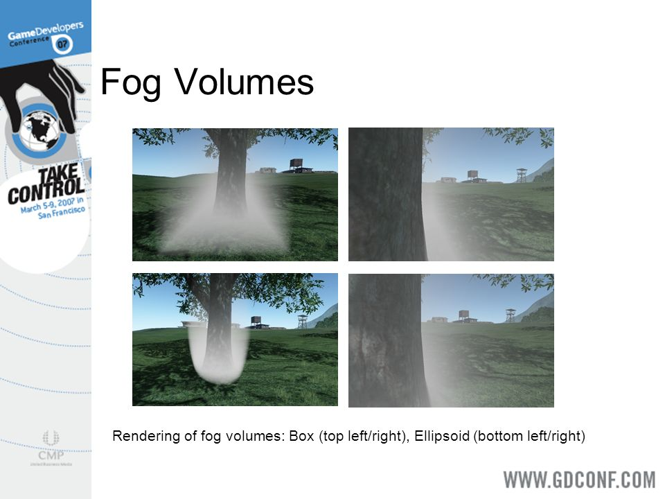 Fog Volumes Rendering of fog volumes: Box (top left/right), Ellipsoid (bottom left/right)