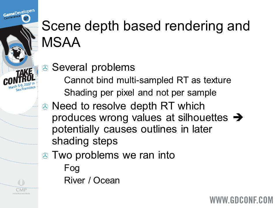 Scene depth based rendering and MSAA