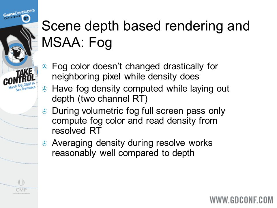 Scene depth based rendering and MSAA: Fog