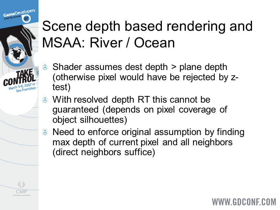 Scene depth based rendering and MSAA: River / Ocean