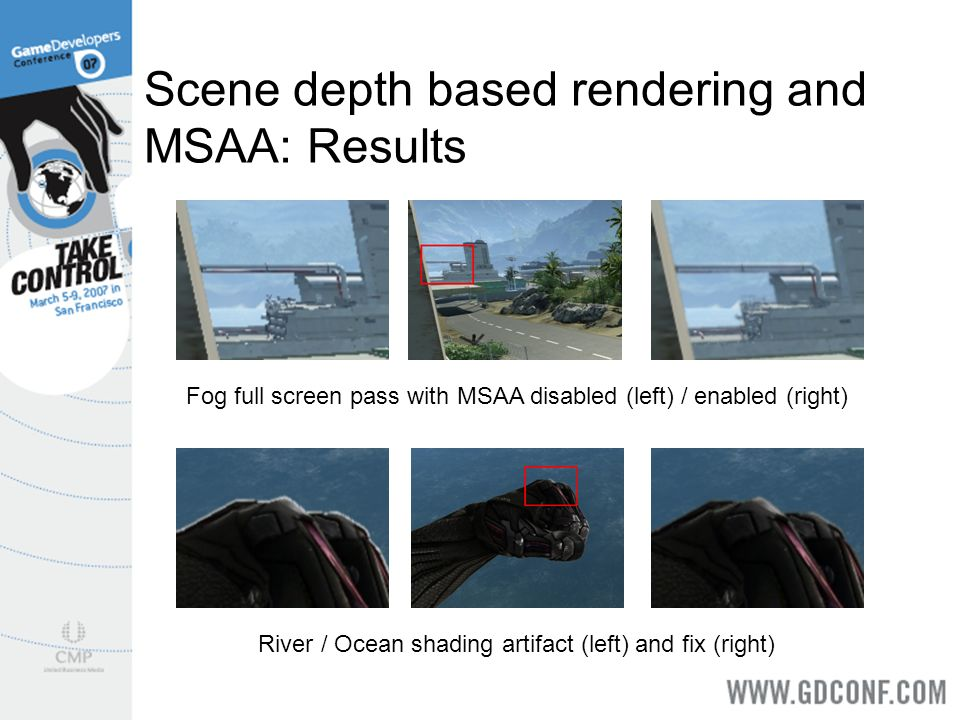 Scene depth based rendering and MSAA: Results