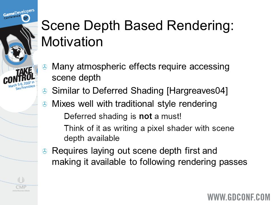 Scene Depth Based Rendering: Motivation