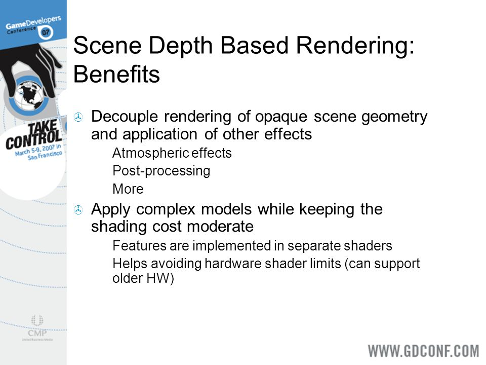 Scene Depth Based Rendering: Benefits