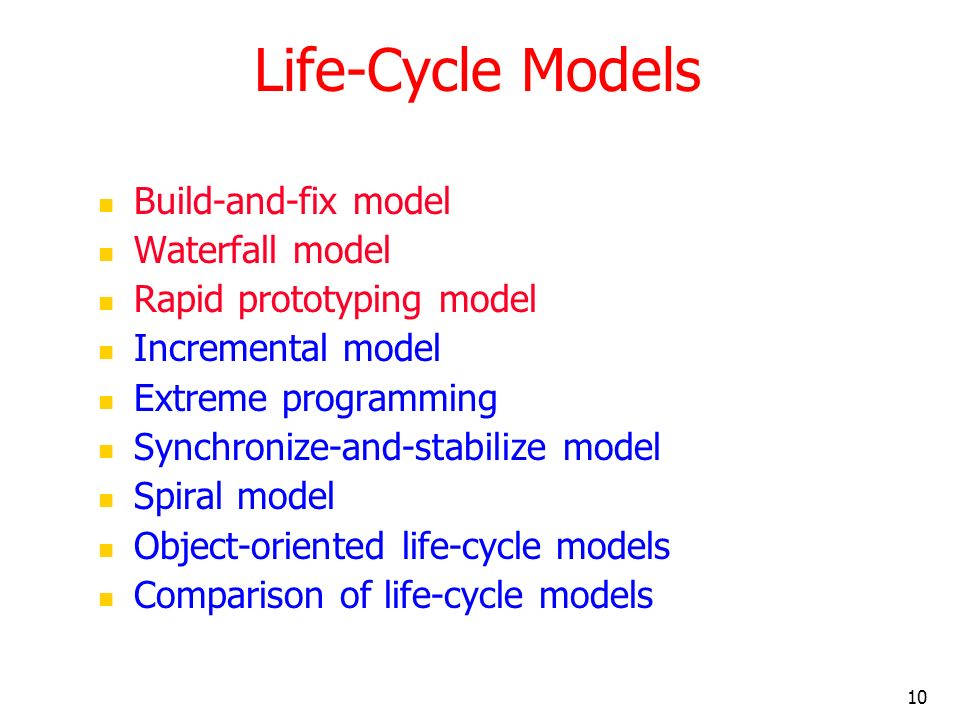 Life-Cycle Models Build-and-fix model Waterfall model