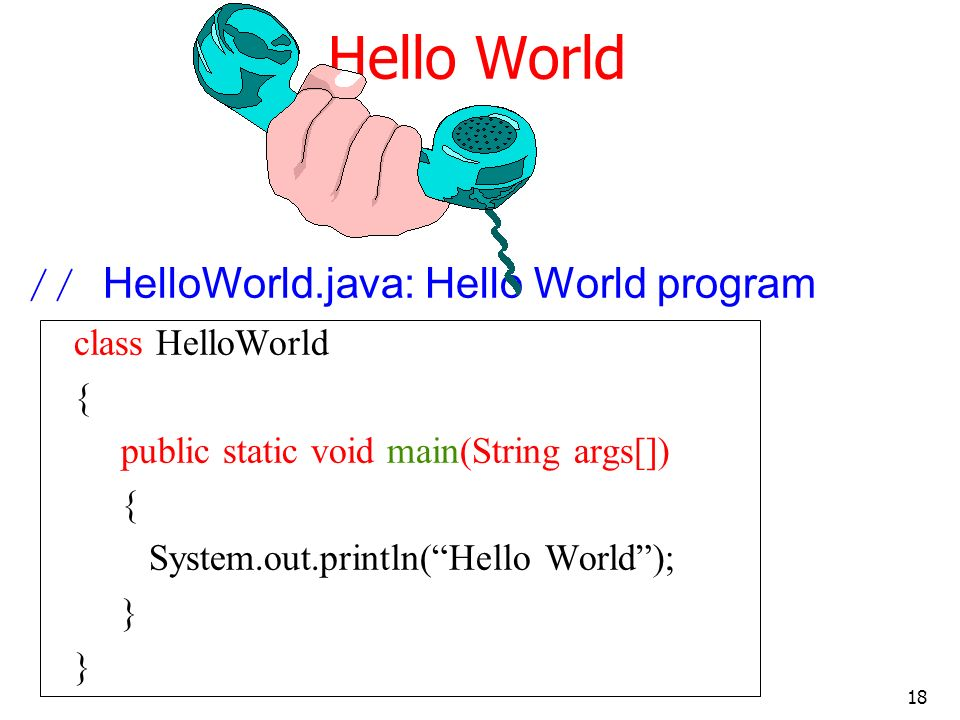 Hello World // HelloWorld.java: Hello World program class HelloWorld {