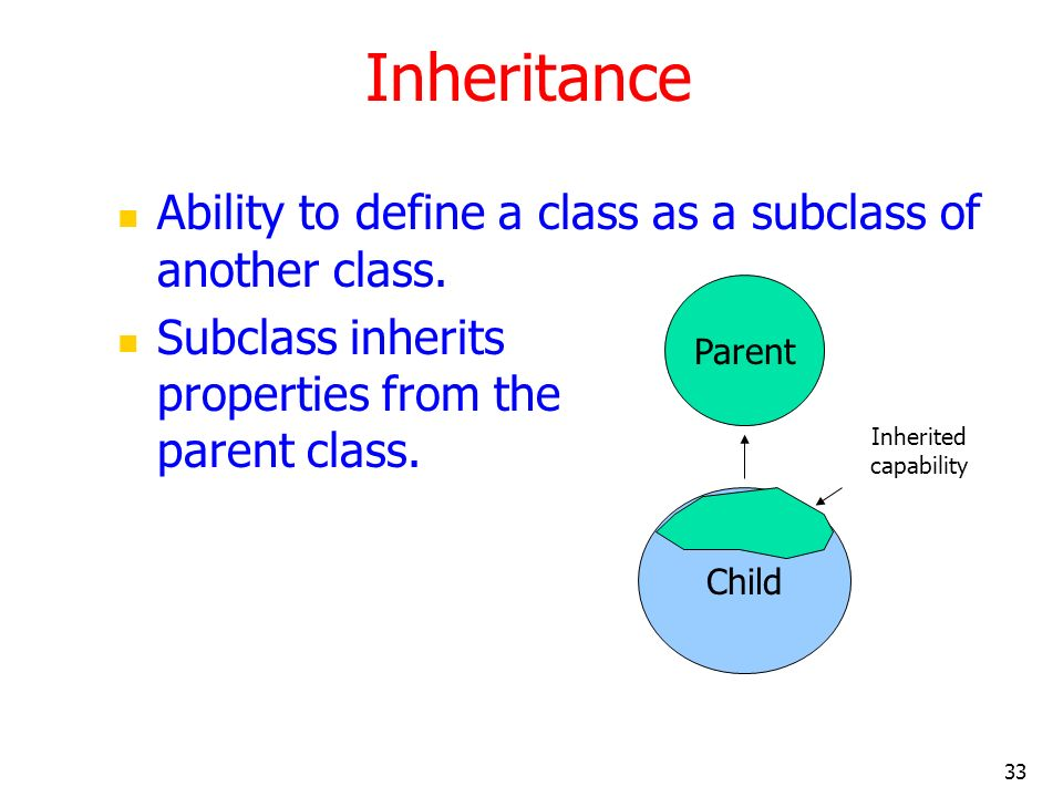 Inheritance Ability to define a class as a subclass of another class.