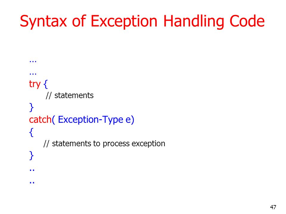 Syntax of Exception Handling Code