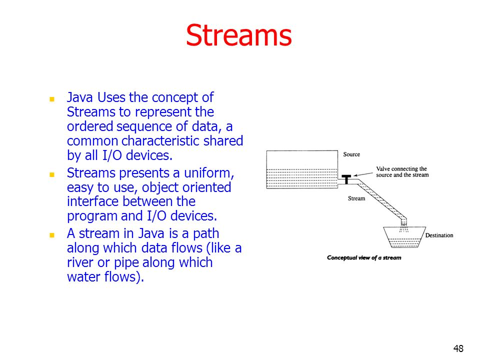 Streams Java Uses the concept of Streams to represent the ordered sequence of data, a common characteristic shared by all I/O devices.