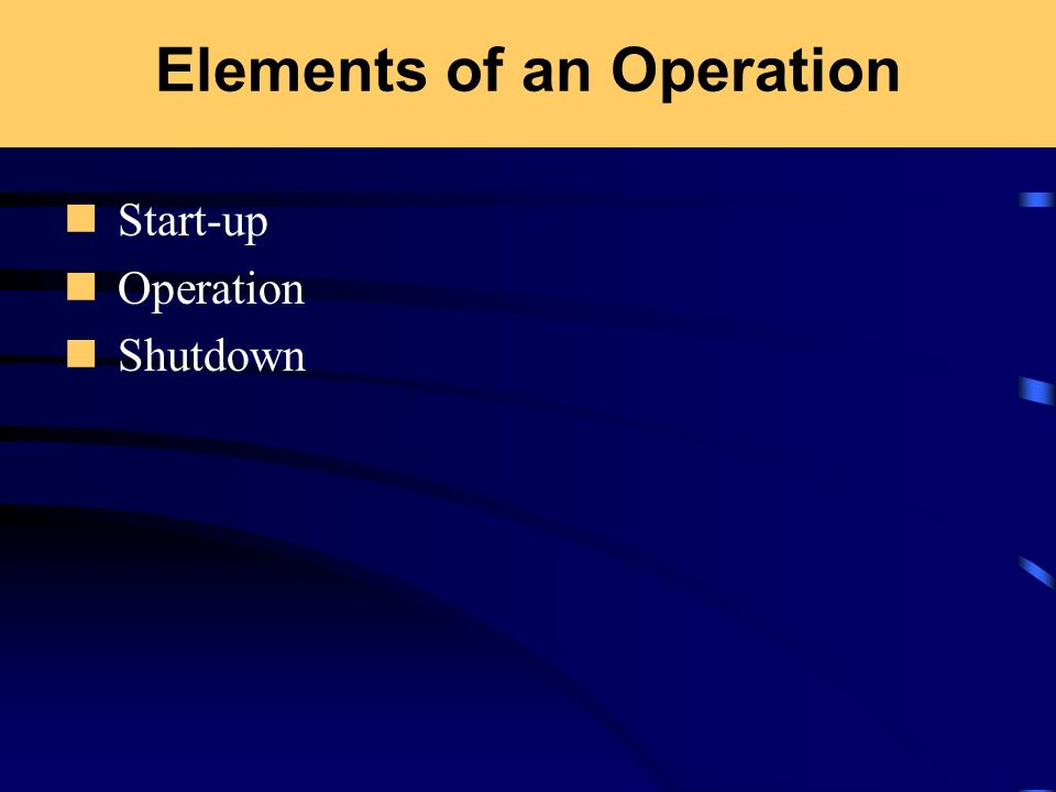 Elements of an Operation